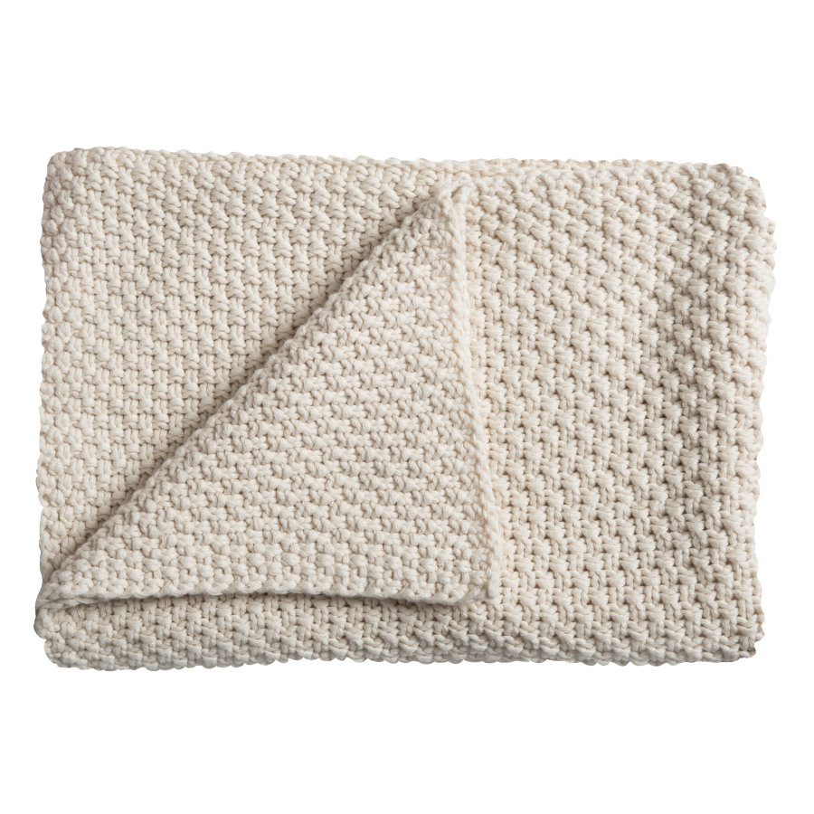 Schardt Baby Stickad filt, 75 x 100 cm natur