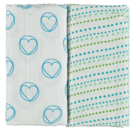 LÄSSIG Swaddle & Burp Blanket large Peace & Dots Boys 120 x