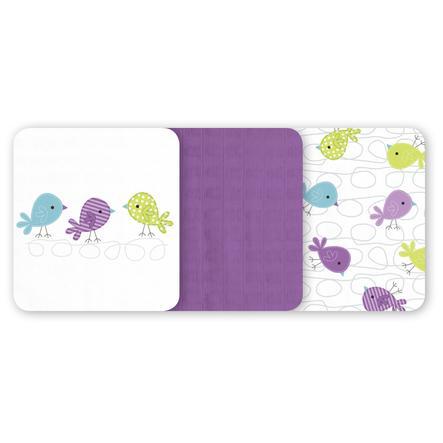 odenwälder Mullwindeln 3er-Pack violett 80 x 80 cm