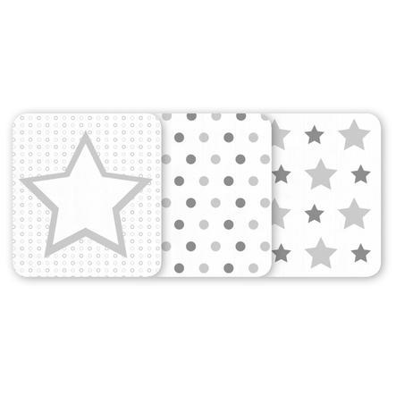 odenwälder Mullwindeln Sterne/Kreise 3er-Pack silber 80 x 80 cm