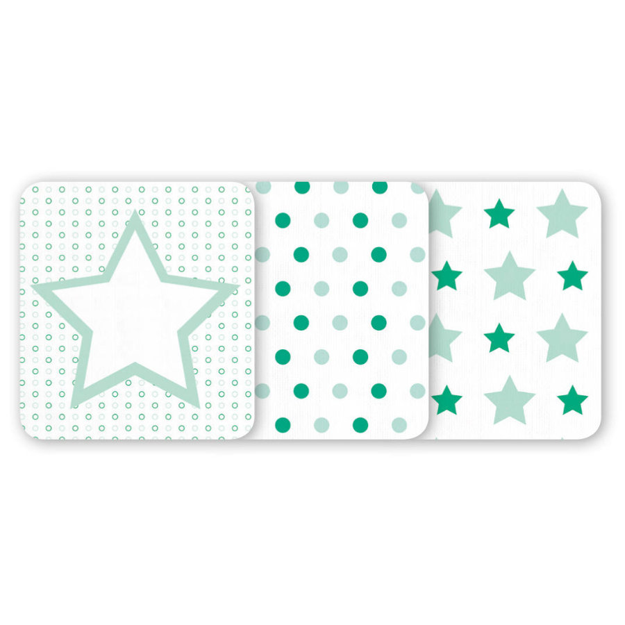 odenwälder Moltontücher Sterne/Punkte 3er-Pack applemint 80 x 80 cm