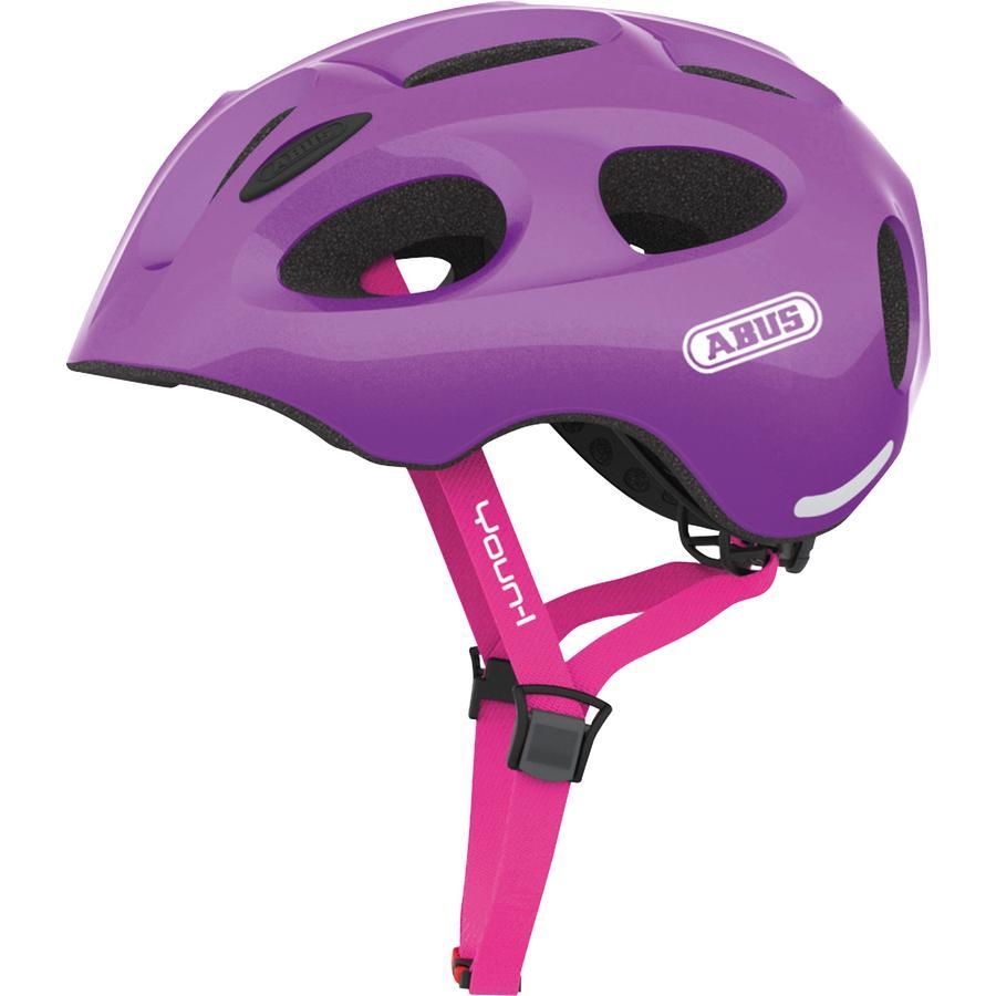 ABUS Kinderhelm Bundle Youn-l sparkling purple M + Regenkappe girl