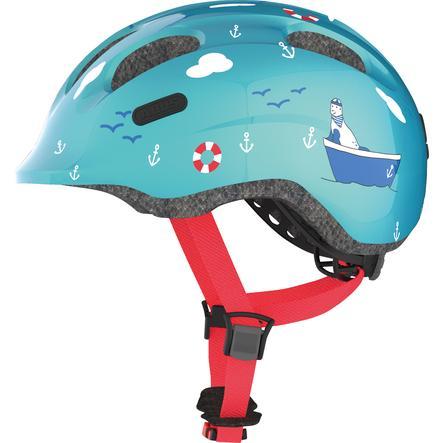 ABUS Kinderhelm Bundle Smiley 2.0 turquoise sailor S + Regenkappe boy