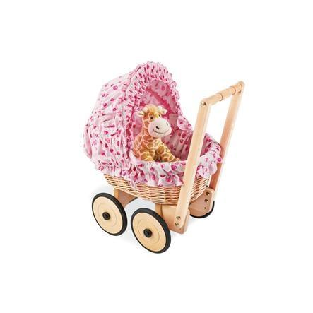 Pinolino Korbpuppenwagen Mona, inkl. Bettzeug Design Herzchen, rosa