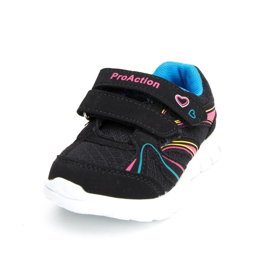 ProAction Girl s Baskets coeur noir/rose/bleu