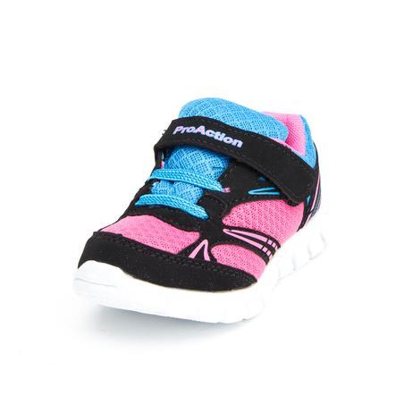 ProAction Girl s Sneaker Schnüroptik noir/rose/bleu