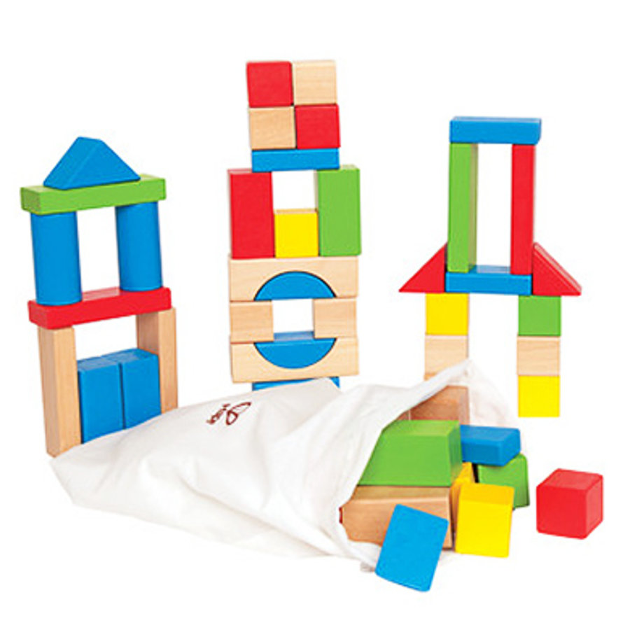 HAPE Colourful Wooden Building Blocks, 50 pcs.