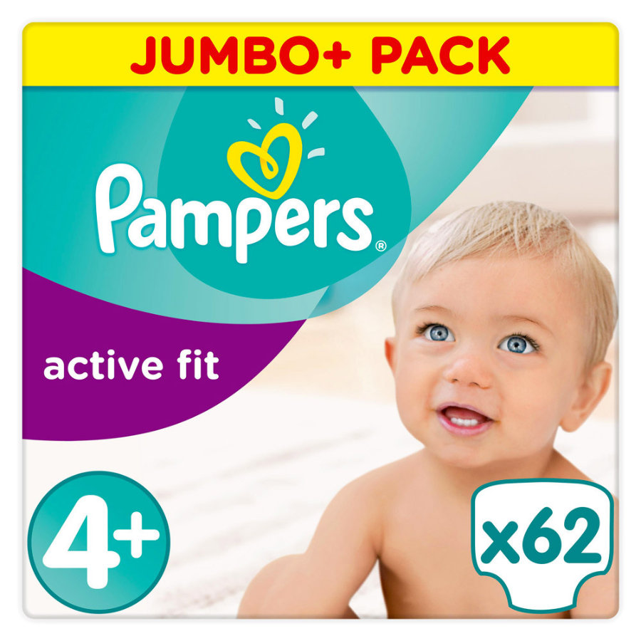 Pampers Windeln Active Fit Gr. 4+ Jumbo Plus Pack 9-18 kg 62 Stück