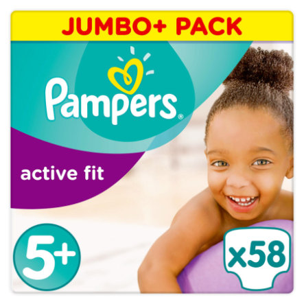 PAMPERS Blöjor Active Fit Junior Plus Stl. 5+ (13-27 kg) Jumbo Plus Pack 58 St
