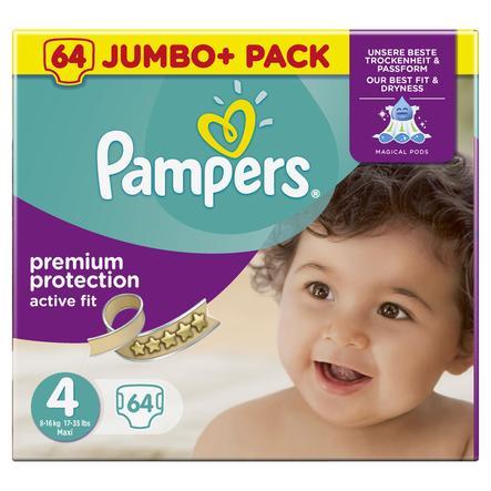 PAMPERS Pannolini Active Fit Taglia 4+ Maxi Plus  (7-18 kg) - Jumbopack Plus da 64 pannolini