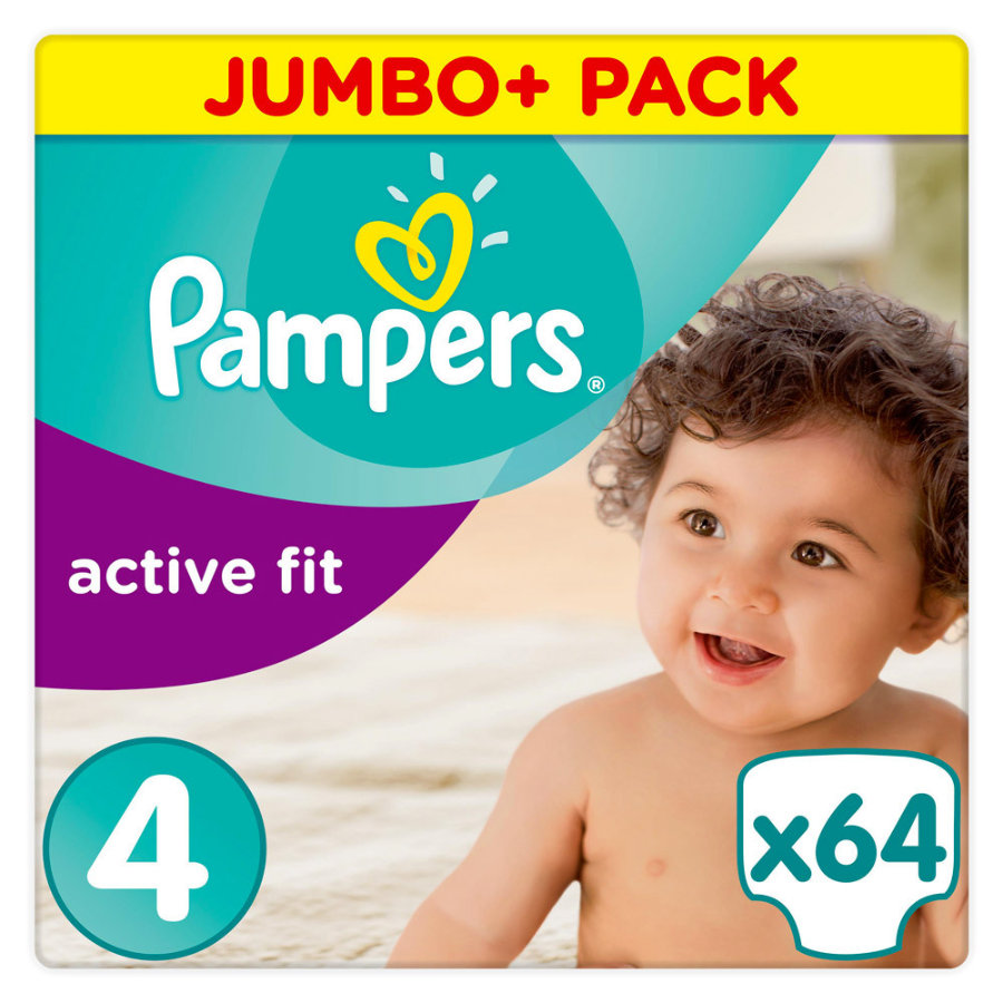Pampers Couches Active Fit Maxi T. 4 (7-18 kg) Jumbo Plus Pack 64 pièces