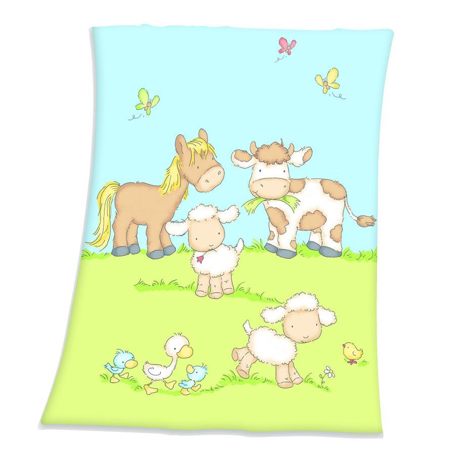 HERDING Coperta Fynn per bambini animali da fattoria 75 x 100 cm