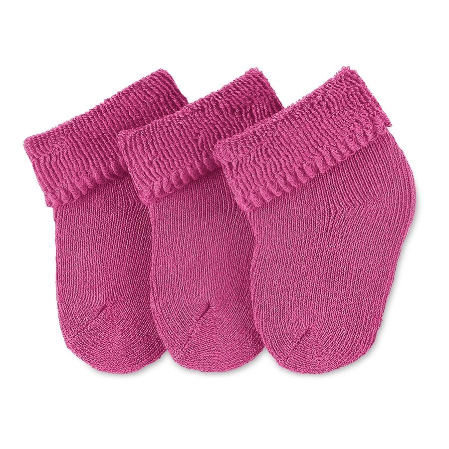 Sterntaler Girls Skarpetki dla niemowląt, zestaw 3 par, kolor magenta
