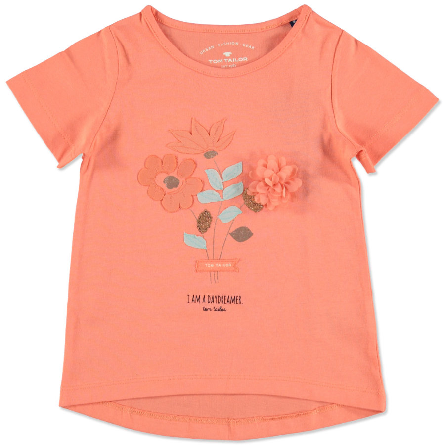 TOM TAILOR Girls T-Shirt mit Blumen-Applikation Fusion Coral