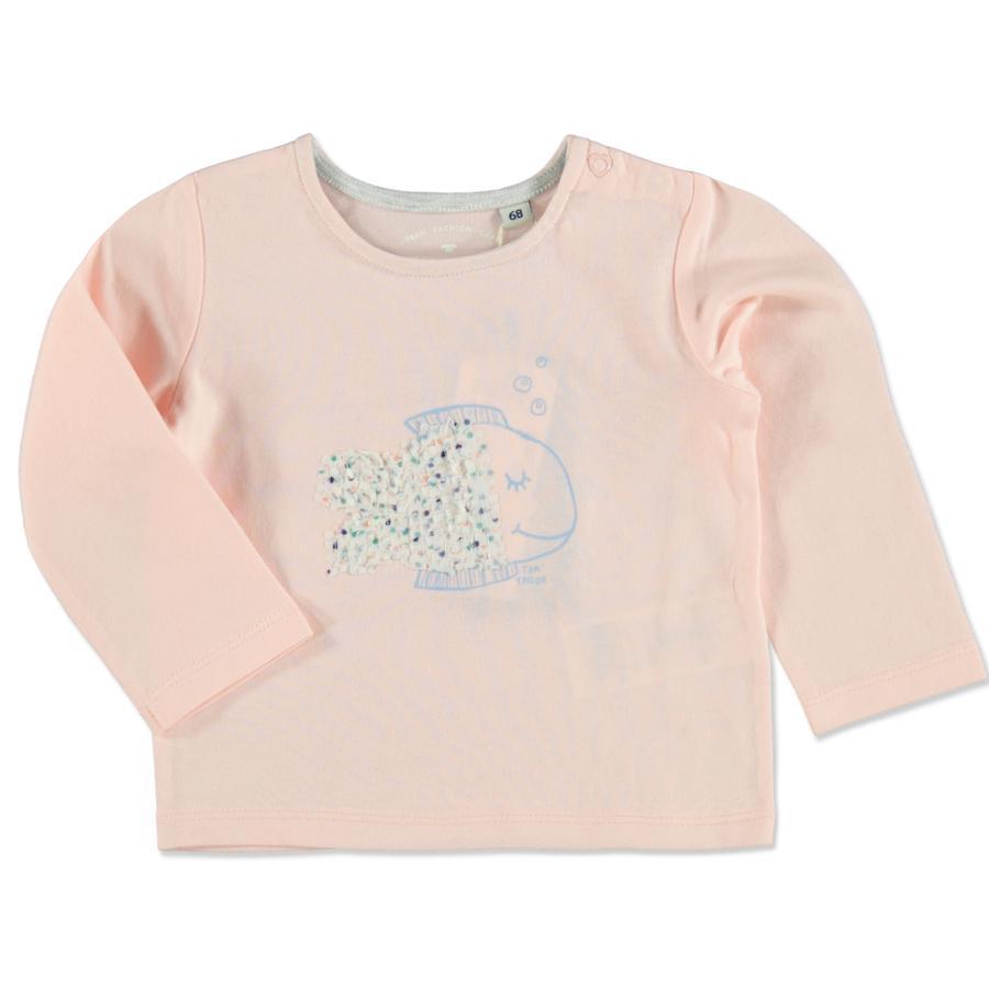 TOM TAILOR Girl 's shirt met lange mouwen en stoffen applicatie Rose Cream