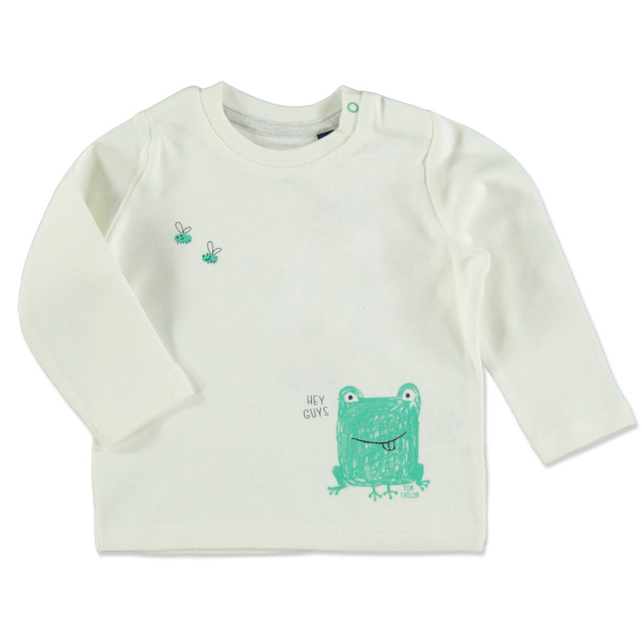 TOM TAILOR Boys Langarmshirt mit Frosch-Print Soft Clear White