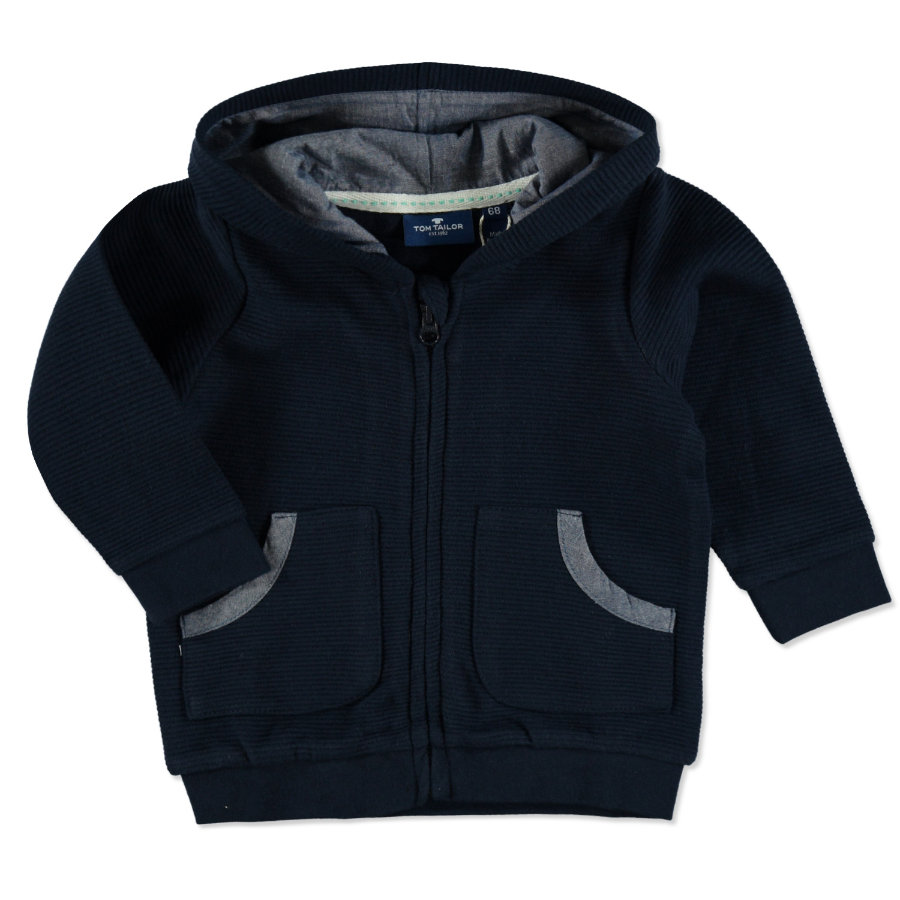 TOM TAILOR Boys Sweatjacke mit Streifenstruktur Real Navy Blue
