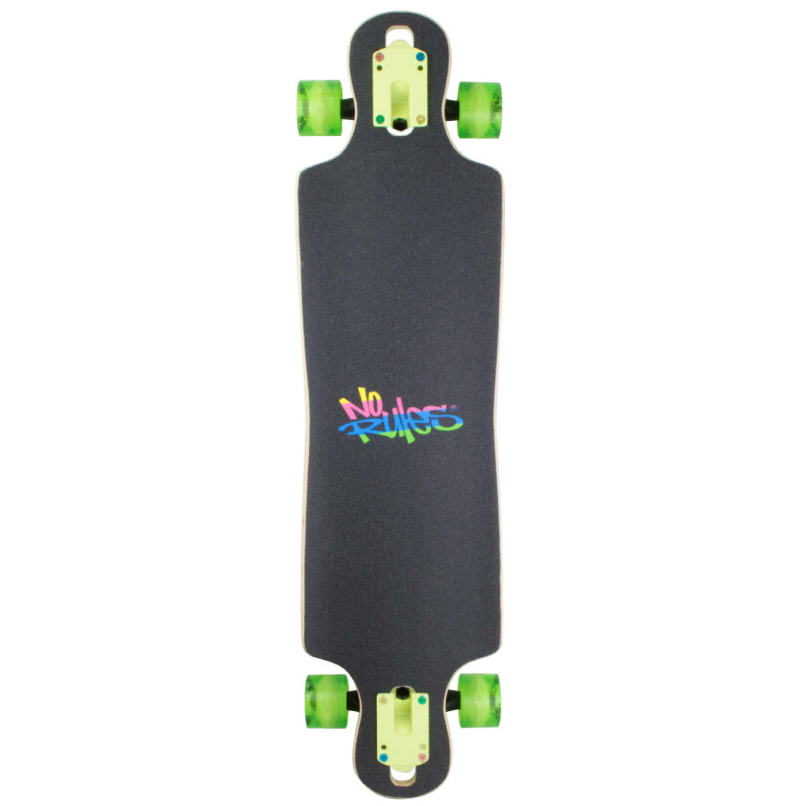 AUTHENTIC SPORTS Longboard ABEC 7 No Rules Neon met Lichtwieltjes