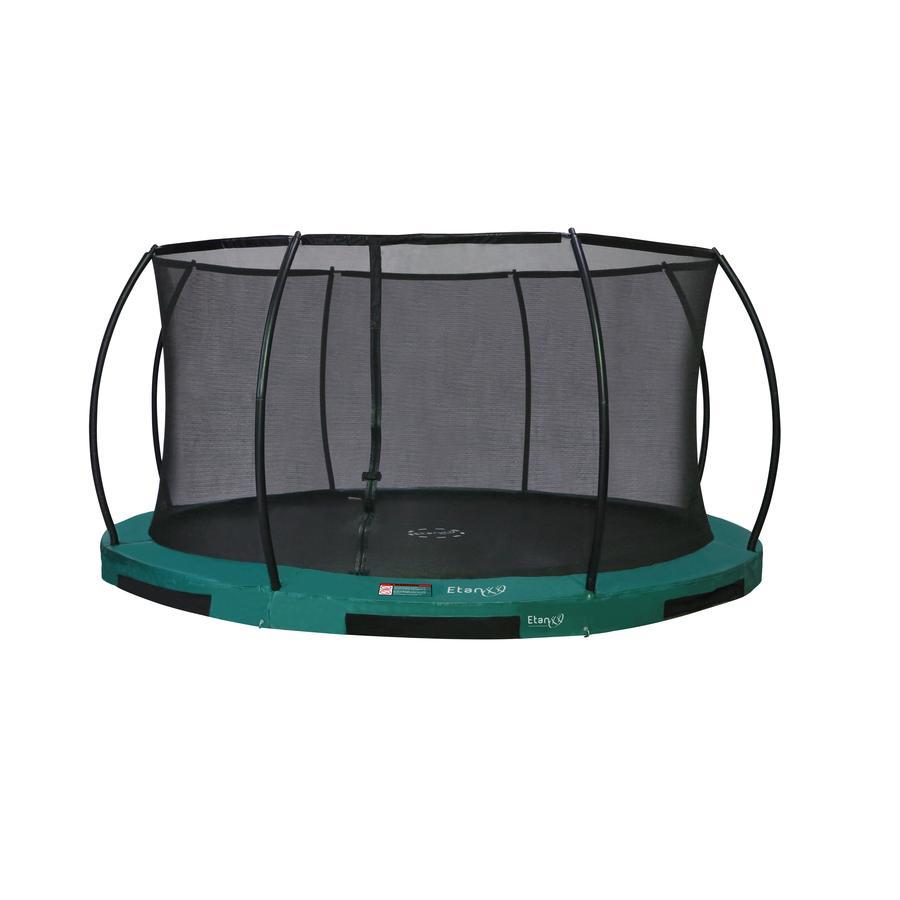 Etan Inground Hi-Flyer 14 Combi Trampolin med säkerhetsnät och stege grön