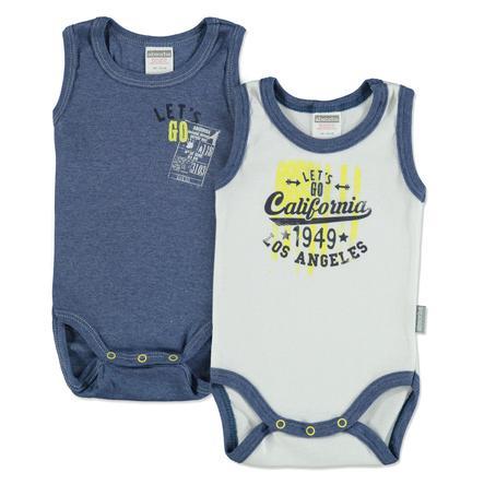 absorba Body bébé sans manche coton bleu/blanc lot de 2