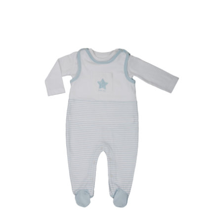 LITTLE Nature Strampler Set blau Streifen