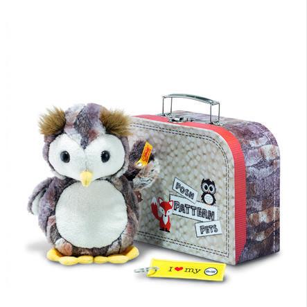 STEIFF Pöllö Eugen ja matkalaukku harmaanruskea, 21 cm