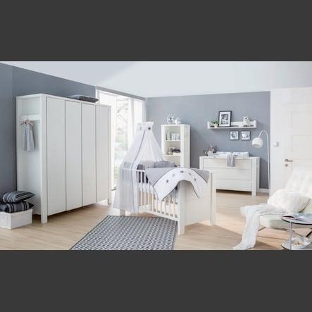 Schardt Lit enfant évolutif, commode, armoire 4 portes, Milano, blanc