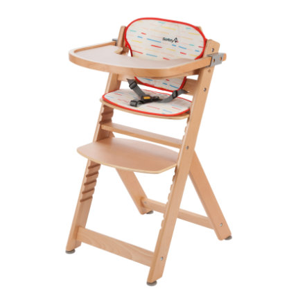 Safety 1st Barnstol Timba med sittdyna Red Lines/Natural Wood