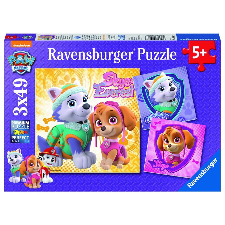 Ravensburger  Puzzle 3 x 49 Teile Paw Patrol: Bezaubernde Hundemädchen
