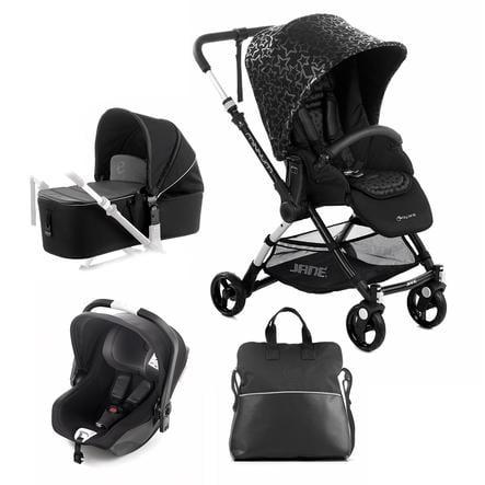 JANÈ Sportsvogn Minnum inklusive en babybilstol iKoos og en liggedel Micro, Black Stars