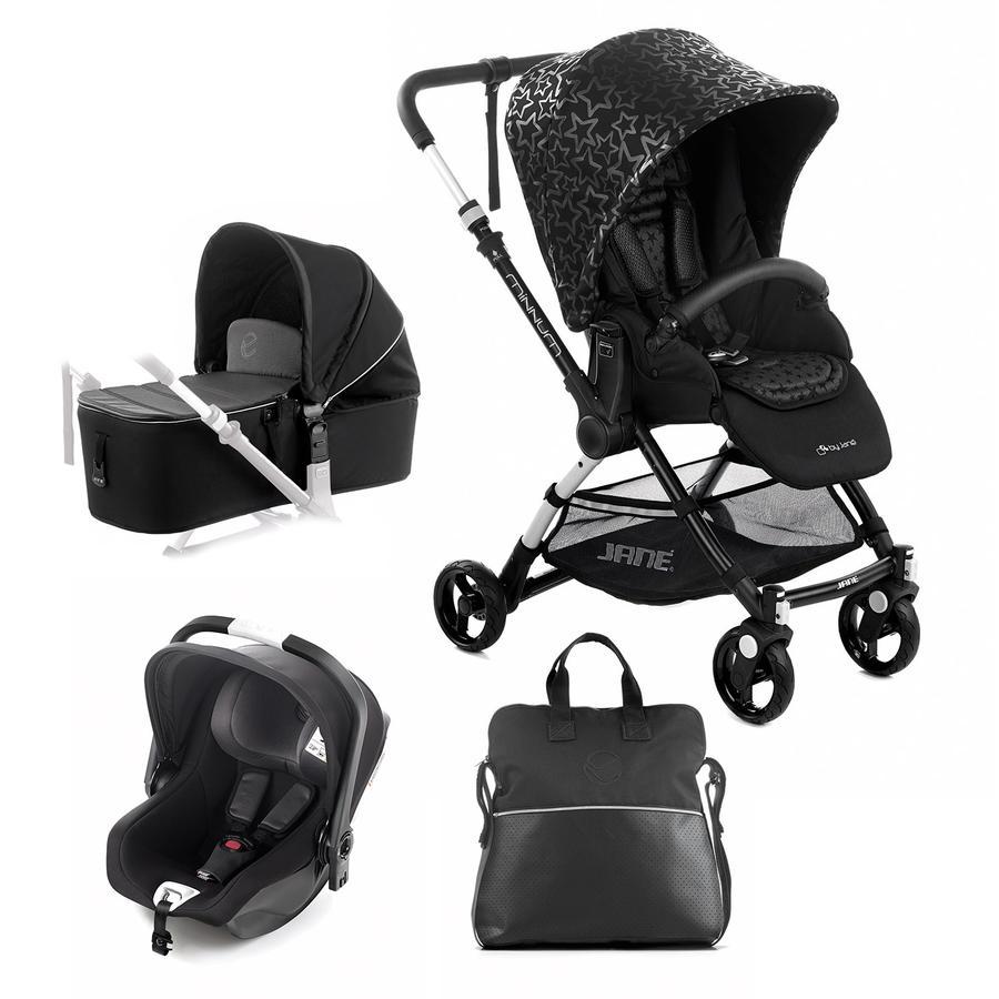 JANÉ Sportwagen Minnum inklusive Babyschale iKoos und Tragewanne Micro, Black Stars