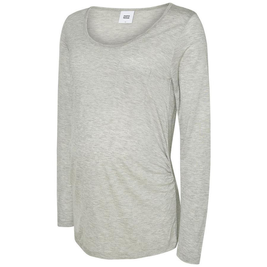 mama licious långärmad skjorta MLWENDY Light Grey Melange
