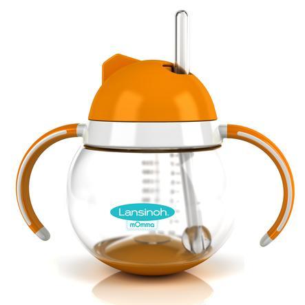 Lansinoh Steh-auf-Trinkhalmbecher orange mit Griff 250 ml