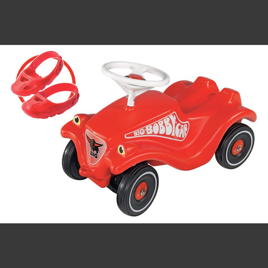BIG Jeździk Bobby Car Classic kolor czerwony z kółkami cichobieżnymi oraz osłonkami na buty Shoe-Care