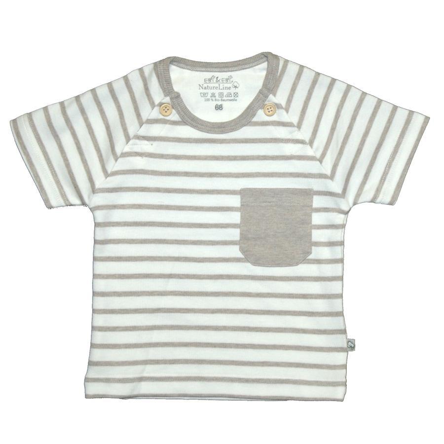 EBI & EBI Fairtrade Bluzka z krótkim rękawkiem beige melange stripes