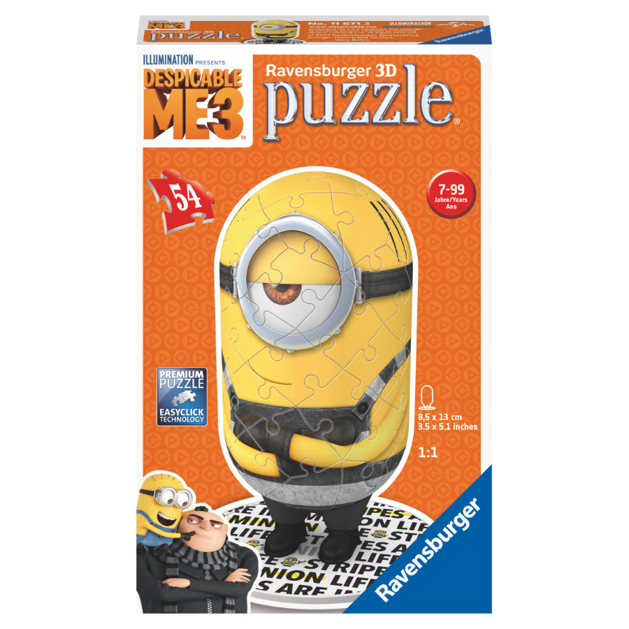 Ravensburger 3D Puzzle - Despicable Me Shaped Minion, Motiv 2: Prisoner Minion