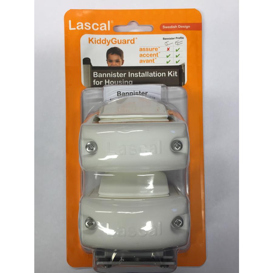 Lascal Kit fixation sur rampe pour barrière Kiddy Guard blanc, 2 pièces