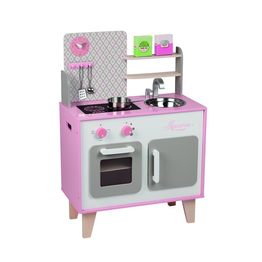 Janod dětská dřevěná kuchyňka Macaron Maxi Cooker 06567 růžová
