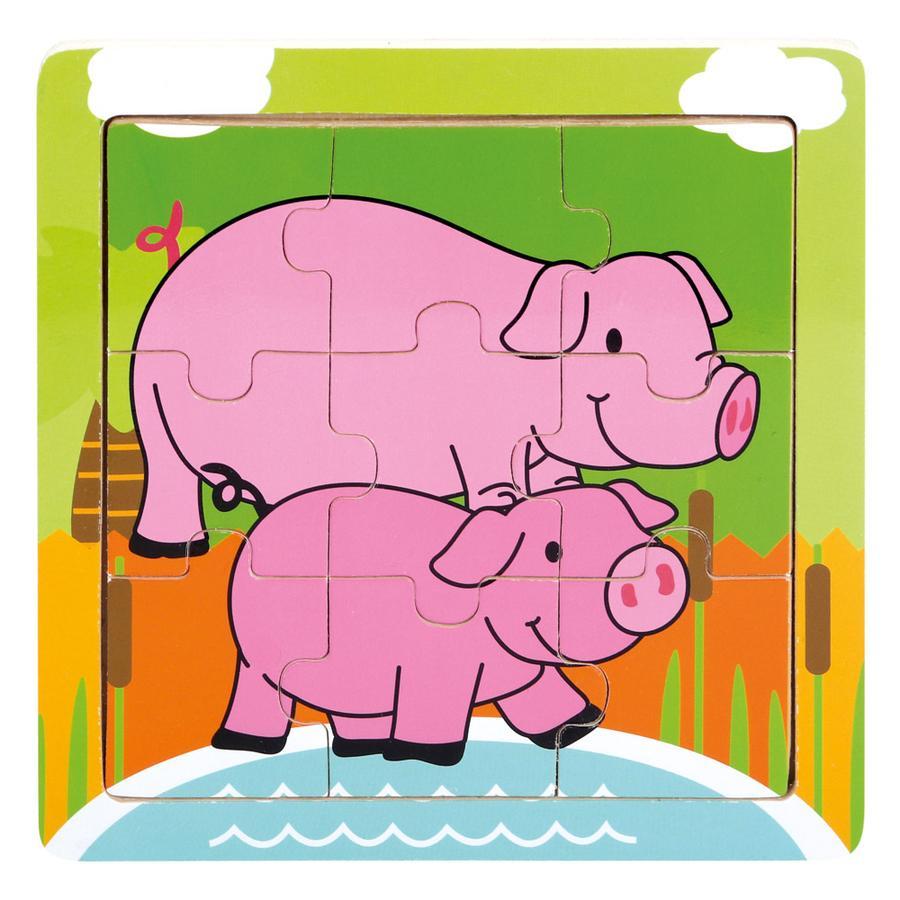 BINO Puslespil gris, træ