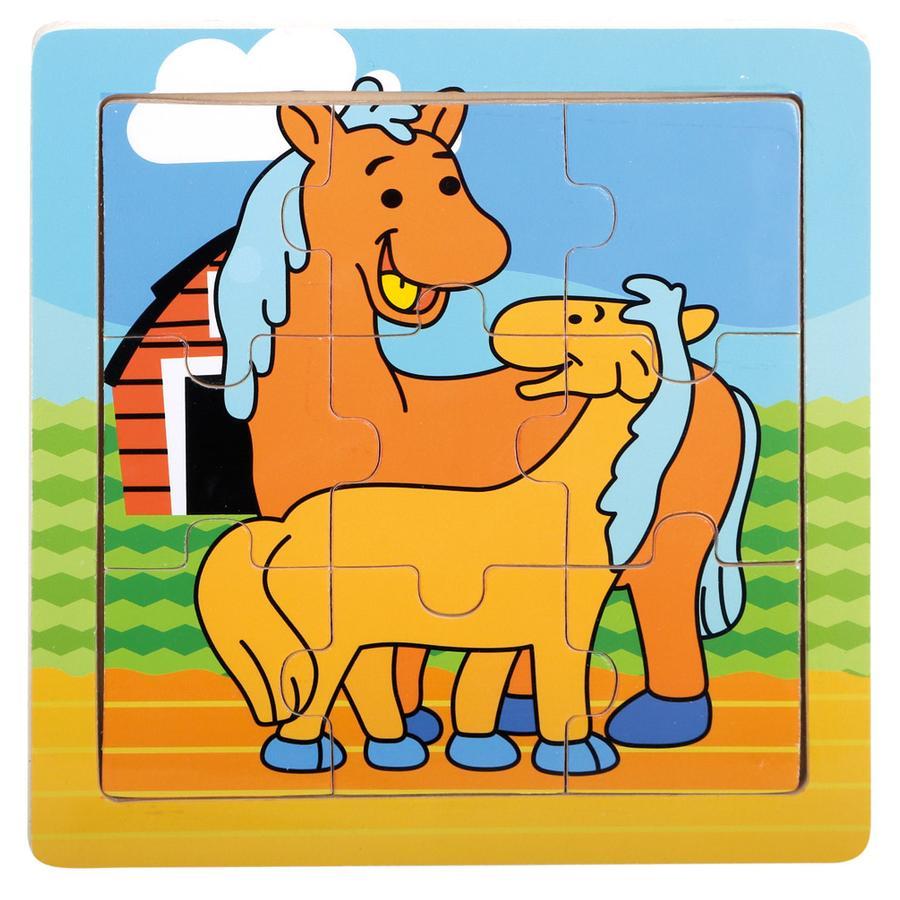 Bino Drewniane puzzle - Konie