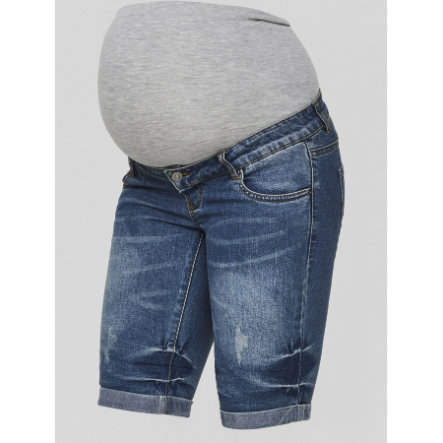 mama licious Pantalón corto de maternidad MLSCRATCH Meduim Blue Denim