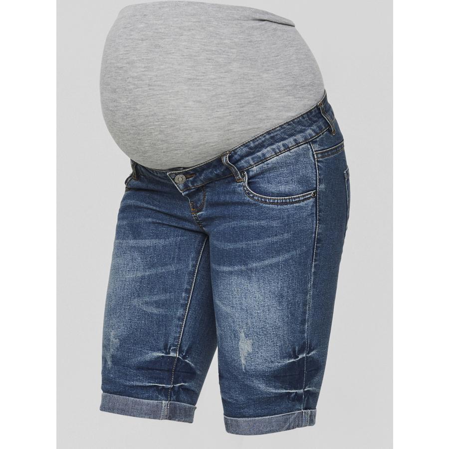 mama licious Short en jean de maternité MLSCRATCH Meduim Blue Denim Meduim