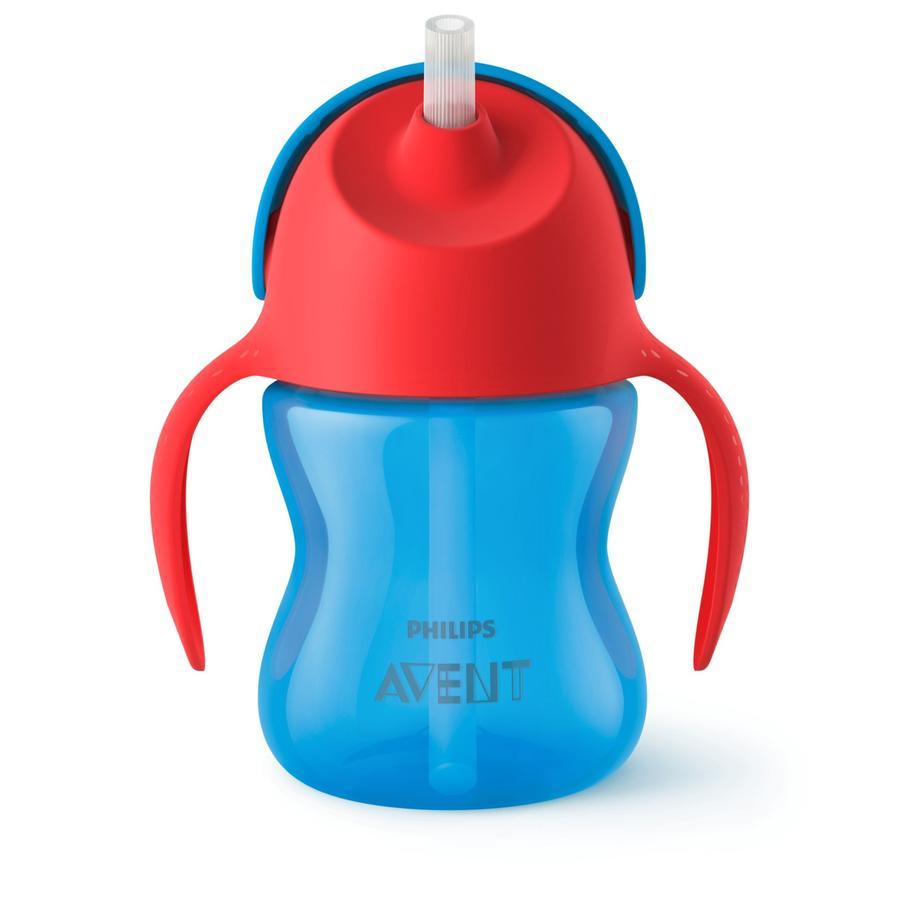 Philips Avent Tasse enfant paille SCF796/01 200 ml 9 M+, bleu/rouge