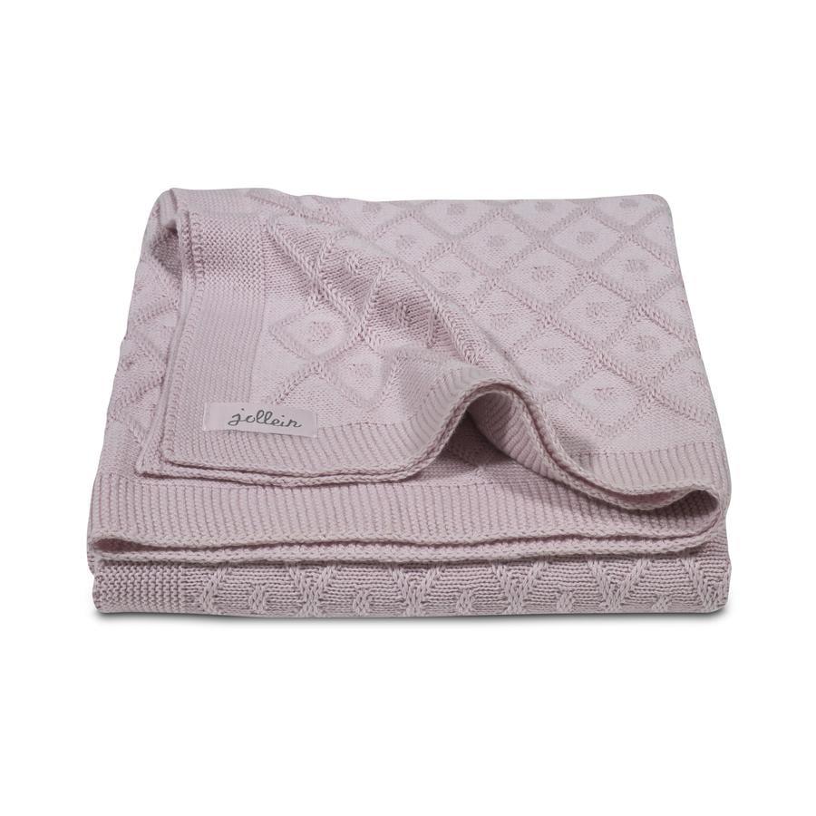 jollein Filt stickad, Diamond vintage pink 100x150cm