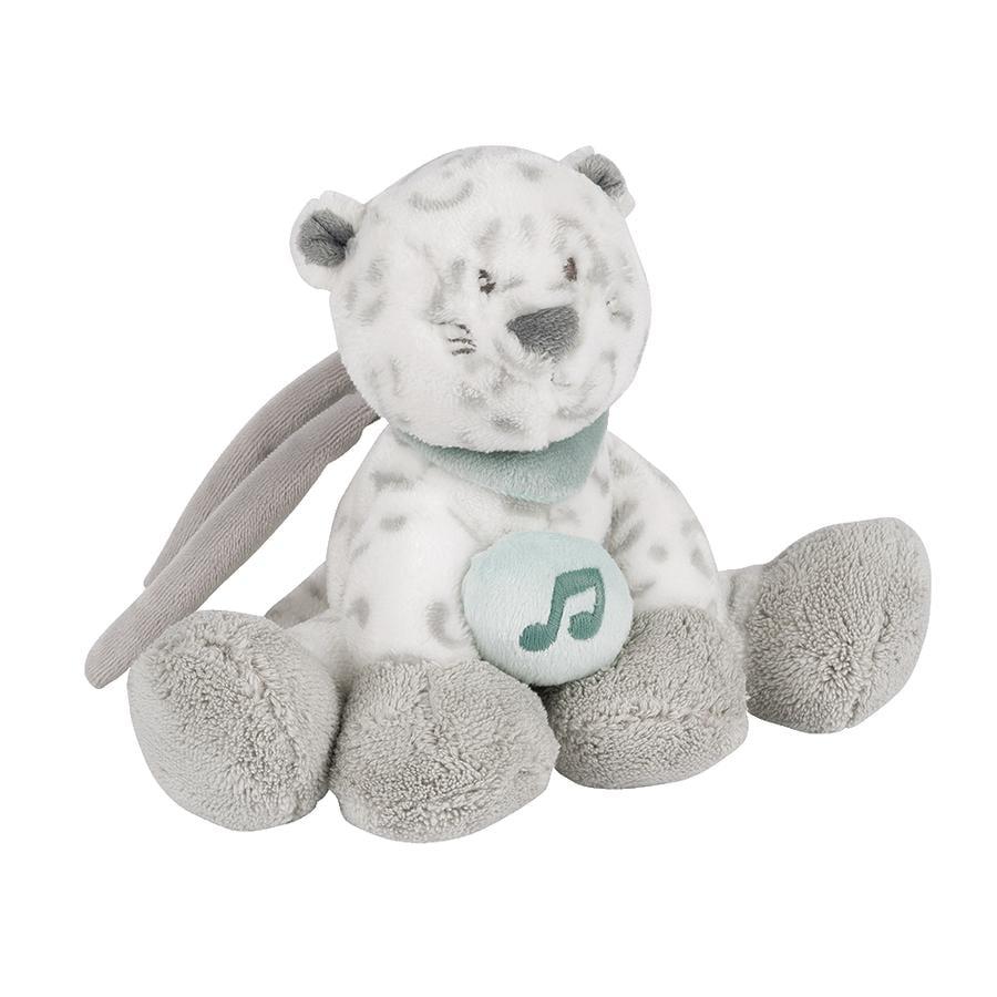 Nattou Lea, Loulou & Hippolyte - Mini Peluche caja de música Leopardo blanco