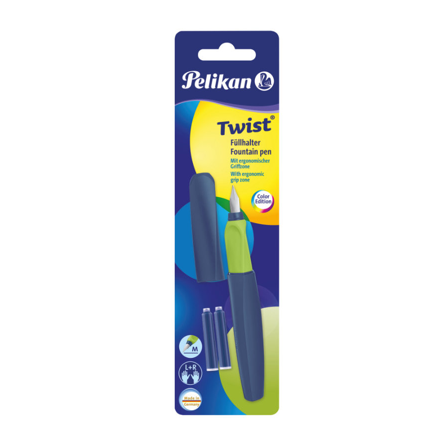 Pelikan Twist® Füllhalter P457 M Apple Blue + 2 TP