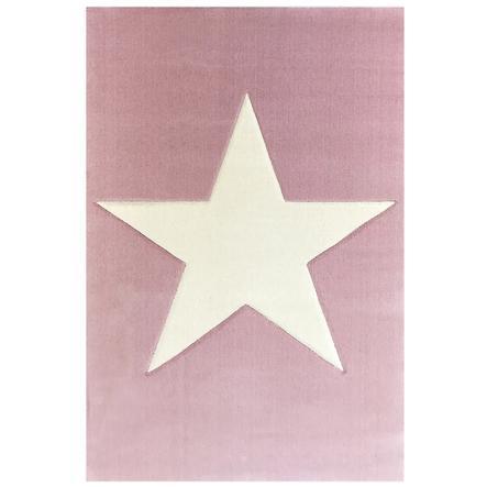 LIVONE Tæppe Happy Rugs Big Star lyserød/natur 160 x 230 cm