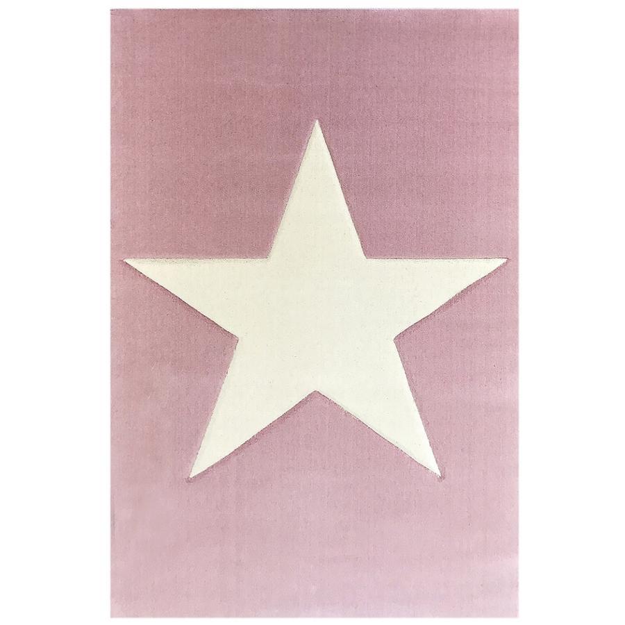 LIVONE Barnmatta Happy Rugs Big Star rosa/natur 160 x 230 cm