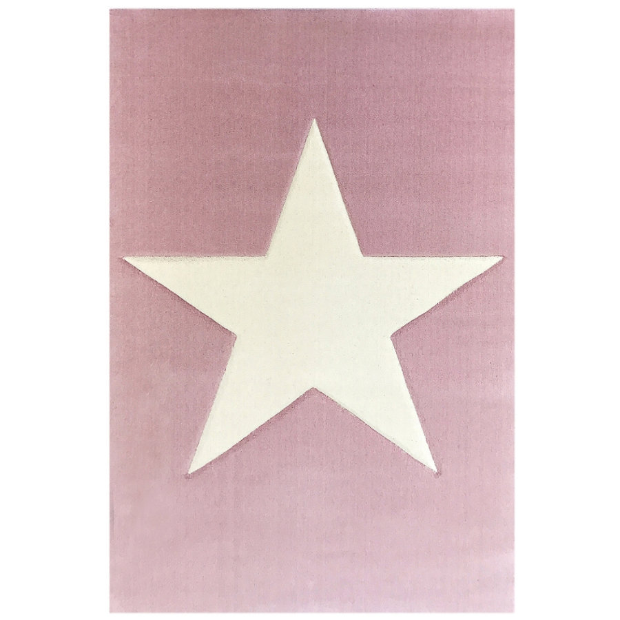 LIVONE Tapis enfant Happy Rugs Big Star rose/nature, 160 x 230 cm