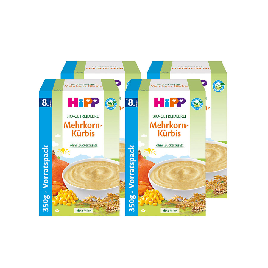 HiPP Bio-Getreidebrei Mehrkorn-Kürbis 4 x 350 g ab dem 8. Monat